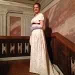 Empire dress in cream and red, square neckline