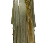 weiß-goldenes Mittelalterkleid mit abnehmbarer Kapuze