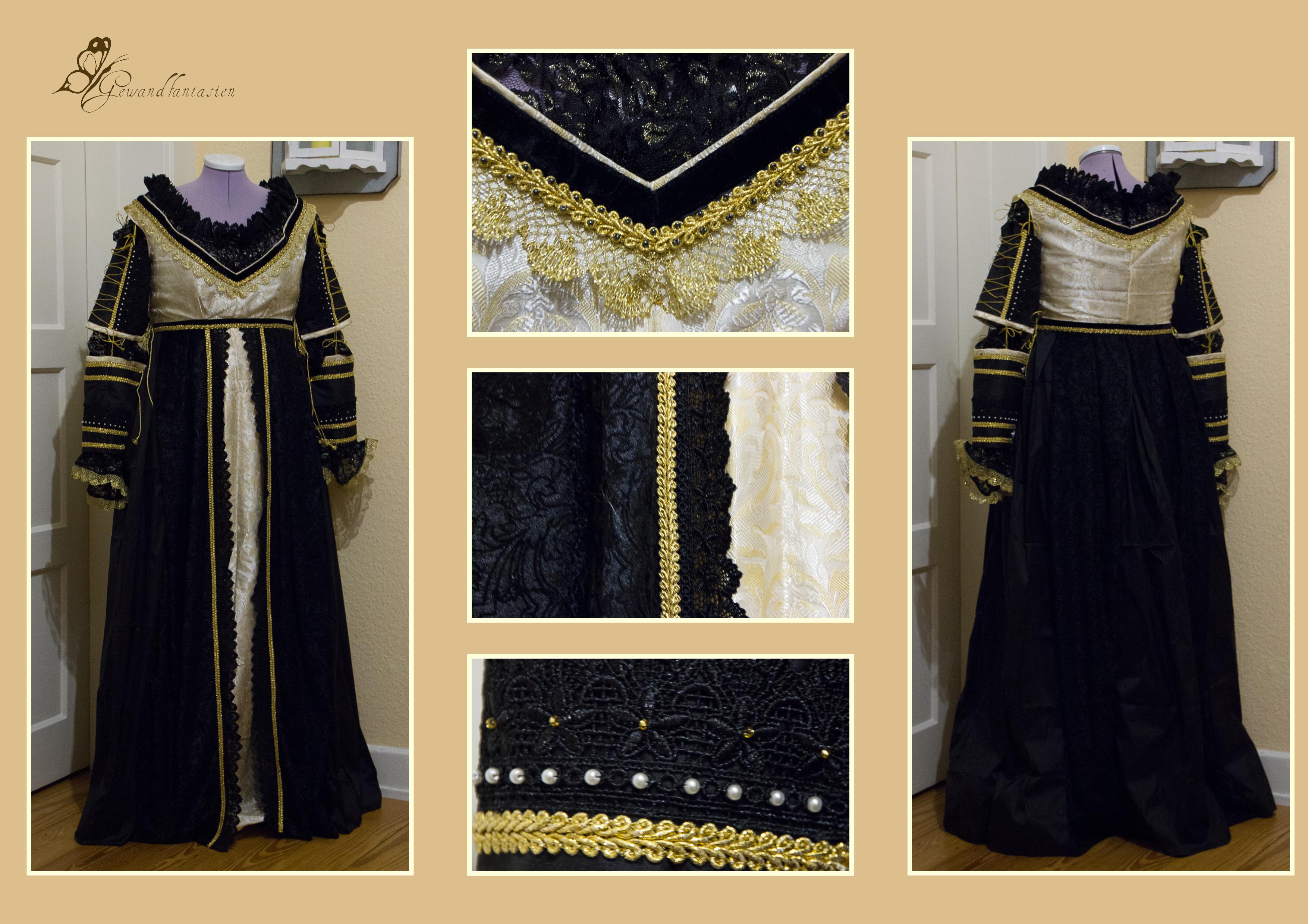 Kleid der italienischen Renaissance in schwarz und gold