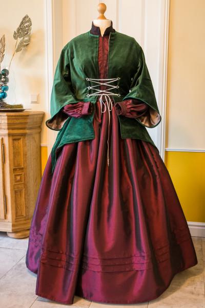 Krinolinen-Kleid in dunkelrot Gr. 42