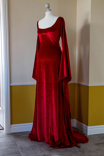 Mittelalterkleid Rote Priesterin aus Stretchsamt