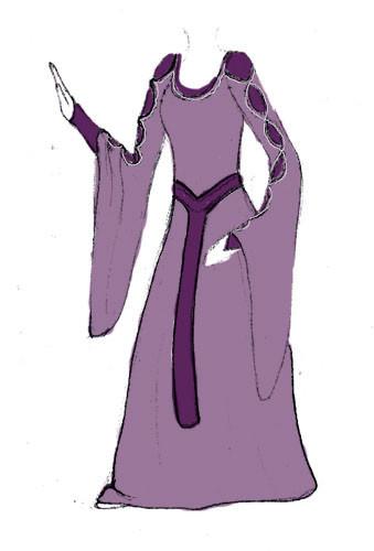 Mittelalterkleid purple Rose zweiteilig